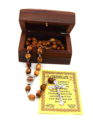 - Holy Land Olive Wood Rosary Beads with Holy Soil with Madonna and Child From Bethlehem and Wooden Hand Carved Jewelry Box
