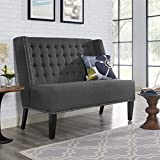 Modern Contemporary Urban Design Living Lounge Room Settee Sofa, Grey Gray, Fabric