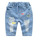 Tortor 1Bacha Little Boys' Girls' Ha Patch Ripped Distressed Jeans Capri Pants Blue 2-3 Years