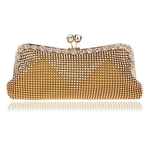 di della sera donne Gold frizione diamante della borsa borsa della Borsa tracolla frizione della Color del a delle della borsa della Hungrybubble borsa Brown borsa della tRqHxwBB