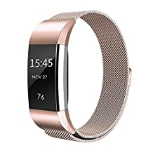 Fitbit Charge 2 Bands,HR Strap Band,Heart Rate Fitness Wristband, Abeky Replacement Milanese Loop Metal Smart Watch Accessories Bracelet Stainless Steel with Magnetic Clasp Compatible Small Large