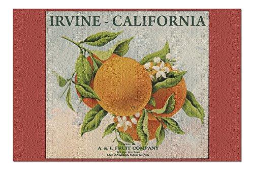 Irvine, California - Fruit Company Orange Citrus Crate - Vintage Label (20x30 Premium 1000 Piece Jigsaw Puzzle, Made in USA!)