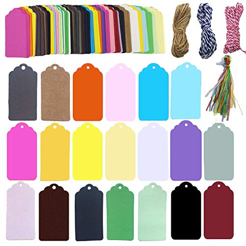 320 Pcs 20 Colors Gift Tags Sign with String Party Favor Paper Tags,Escort Cards Wishing Tree Tags, Name Place Cards Hanging Sign Tags Price]()