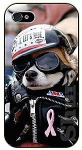 iPhone 5C Hipster dog with aviatior glasses. Black jacket, biker - black plastic case / dog, animals, dogs