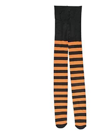 c45d843507df5 OrientalTradingCo Black and Orange Striped Adult Tights One Size Fits Most:  Amazon.co.uk: Clothing