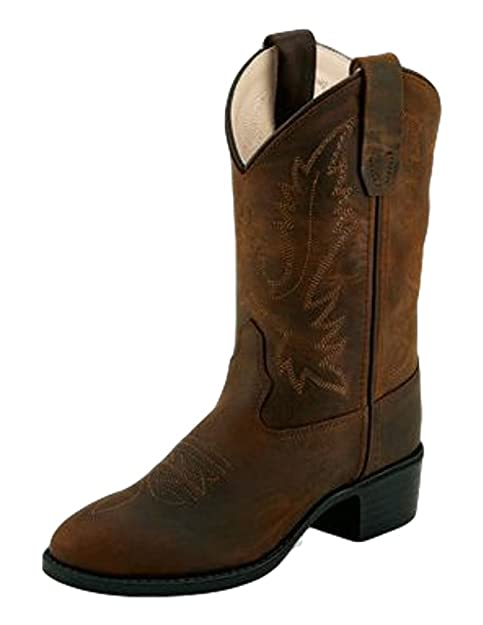 feea9a74220 Old West Cowboy Boots Kids TPR Sole Round Toe Medallion Brown 1109 ...