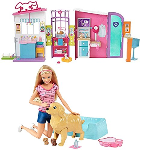 Bundle Includes 2 Items - Barbie Pet Care Center Playset and Barbie Newborn Pups Doll & Pets Playset, Blonde