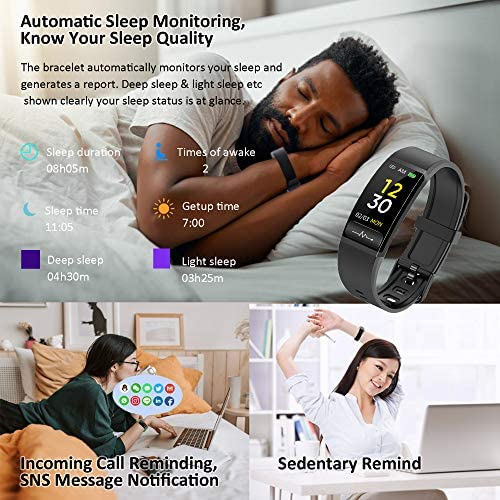 Smart Watch, Hongmed Fitness Watch for Android phones and iPhone Compatible, with Body Temperature Blood Pressure Oxygen Monitor, Waterproof Pedometer Activity Tracker With Sleep Monitor for Men Women 4