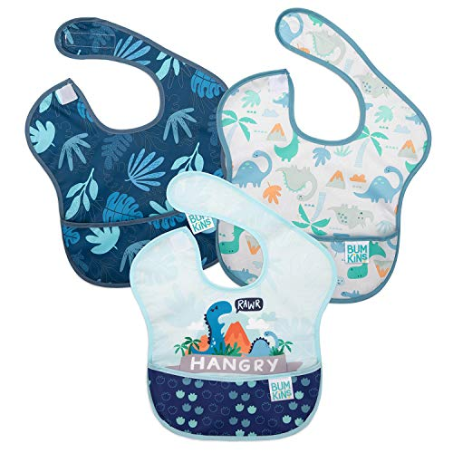 Bumkins SuperBib, Baby Bib, Waterproof, Washable, Stain and Odor Resistant, 6-24 Months, 3-Pack ? Hangry/Dinosaurs/Blue Tropic