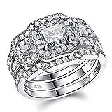 Newshe Engagement Wedding Ring Set Women 925 Sterling Silver 3pcs Princess White AAA Cz Size5-12