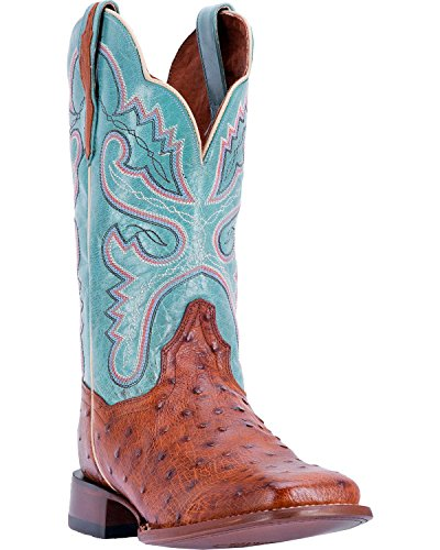 Dan Post Women's Full Quill Ostrich Western Boot Square Toe Cognac 9 (Womens Full Quill Ostrich Boot)