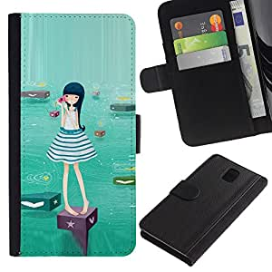 KingStore / Leather Etui en cuir / Samsung Galaxy Note 3 III / Chica lindo del Agua
