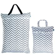 Teamoy (2 Pack) Travel Hanging Wet Dry Bag for Cloth Diapers Organizer Tote Bag, Gray Chevron