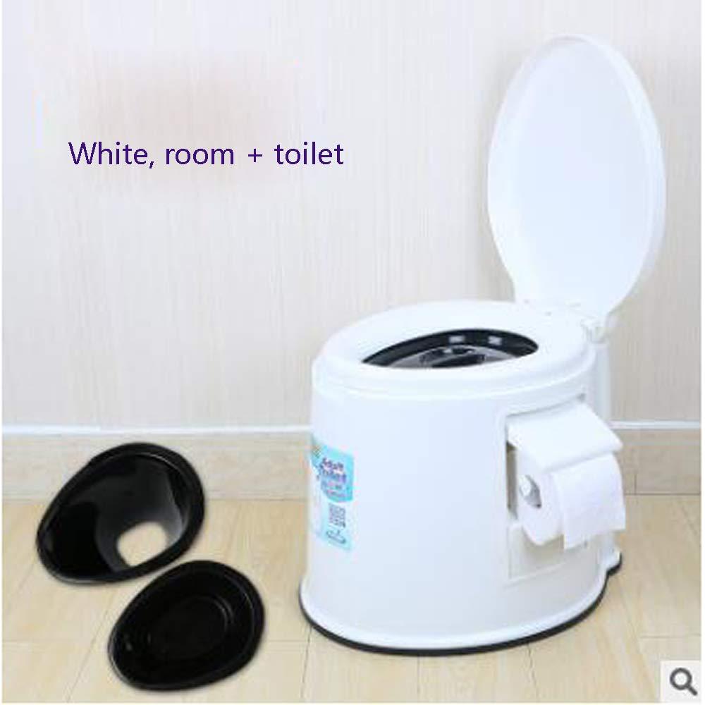 Tragbarer Toilettenpatiententoleranter Toilettensitzplastik der Älteren Frauen der Älteren Frauen Tragbarer Erwachsener,Weißb