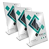 Clear Acrylic Sign Holders (3 Pack) - 8.5 x 11 Inches, Premium Quality 3mm Thickness, Slanted Design, Clear Marketing Display for Business, Office, School, Home  - Sturdy Ad Frame