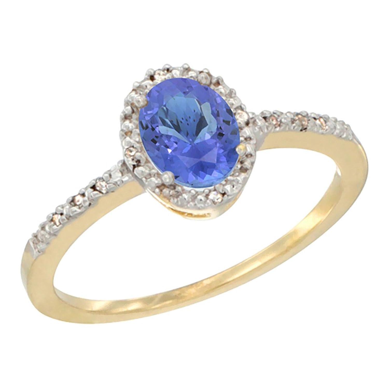 14K White Gold Diamond Natural Tanzanite Engagement Ring Oval 7×5 mm, sizes 5 – 10