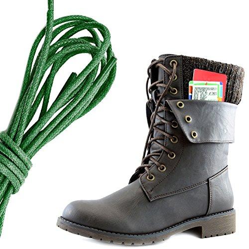 Dailyshoes Donna Militare Allacciatura Fibbia Stivali Da Combattimento Caviglia Metà Polpaccio Ripiegabile Tasca Per Carte Di Credito, Verde Scuro Marrone Pu