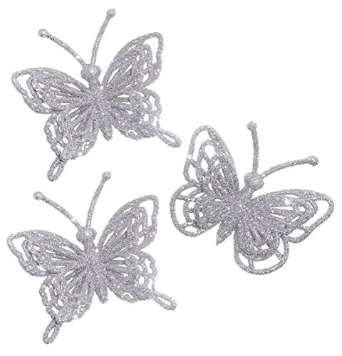 Homecoming Mums (ACI PARTY & SPIRIT ACCESSORIES 3d Glitter Butterfly Embellishment, Silver , Set Of 3)