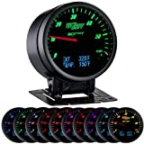 """GlowShift 3in1 Analog 60 PSI Boost Gauge Kit with Digital 2200 F Pyrometer Exhaust Gas Temp EGT & 300 F Temperature Readings - 10 Selectable LED Colors - Black Dial - Clear Lens - 2-3/8"""" 60mm"""