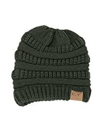 Billila BeanieTail Soft Stretch Cable Knit Messy High Bun Ponytail Beanie Hat