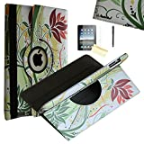 iPad Mini Case - JYtrend (TM) 360 Degrees Rotating Stand Leather Magnetic Smart Cover Case With Wake Sleep Feature For iPad Mini 1/iPad Mini 2/iPad Mini 3, With Free Screen Protector, Stylus and Cleaning Cloth, Green Flower