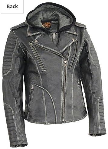 Milwaukee Leather Womens Rub-Off M//C w//Full Hoodie Jckt Liner-Black-X-Large