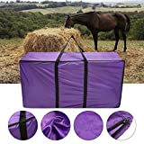 Essort Hay Bale Storage Bag, Extra Large Tote Hay Bale Carry Bag, Foldable Portable Horse and Livestock Hay Bale Bags with Zipper Waterproof, Purple 45'' x 14'' x 23''