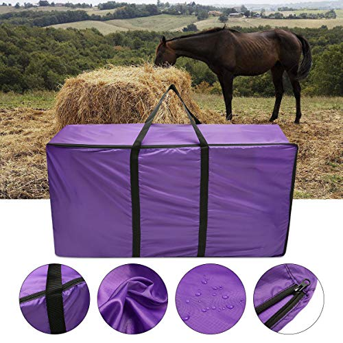 Essort Hay Bale Storage Bag, Extra Large Tote Hay Bale Carry Bag, Foldable Portable Horse and Livestock Hay Bale Bags with Zipper Waterproof, Purple 45'' x 14'' x 23'' ()