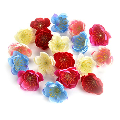 Flower heads in bulk wholesale for Crafts Mini Silk Cherry Blossoms Daisy Artificial Rose Fake Flowers Poppy Wedding Decoration DIY Wreath Accessories Party Birthday Home Decor 80pcs 3cm (Colorful)