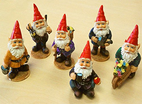 Mini Gnomes Garden Fairy Set of 6 by Land & Sea