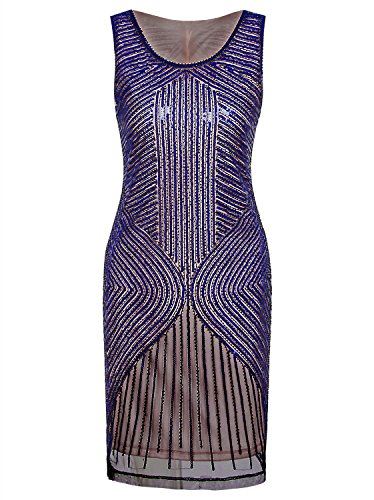 Vijiv Women's 1920s Gatsby Sequined Inspired Beaded Paisley Prom Party Flapper Dress ()