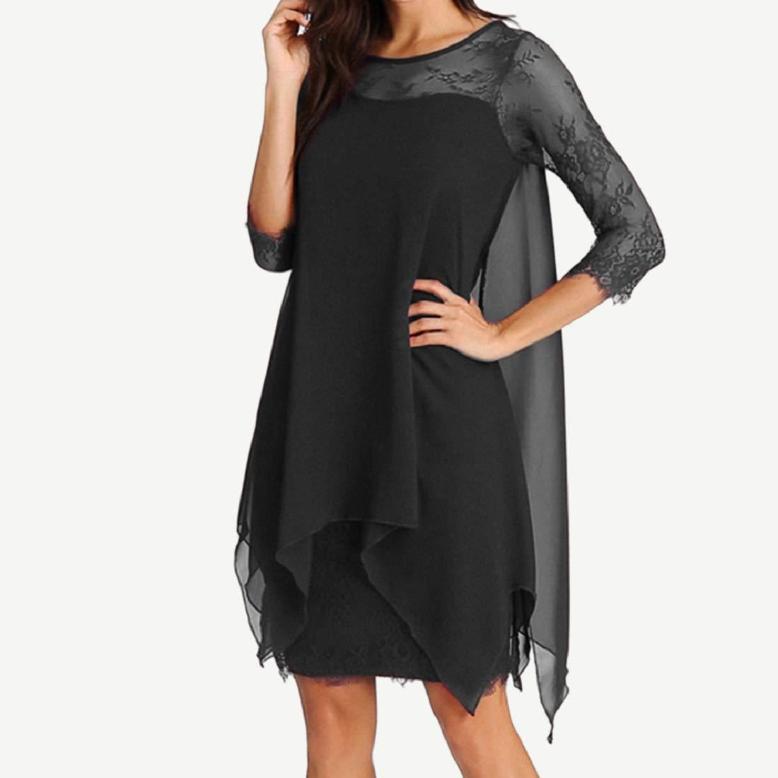 Bkolouuoe Women Chiffon Floral Lace Dress Long Sleeve Plus Size Overlay Solid Color Crew Neck Oversize Dress