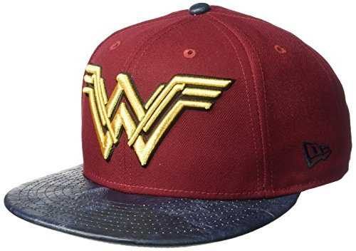 New Era Cap Embroidered Hat (New Era Cap Men's Justice League Wonder Woman 9FIFTY Snapback Cap, Red, One Size)