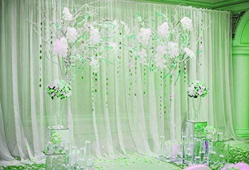 Photography Background 7x5ft Wedding Ceremony Decoration Light Green Tone Curtain Arch Flowers Bouquet Marriage Celebration Elegant Background Invitation Party Decoration Backdrops Studio