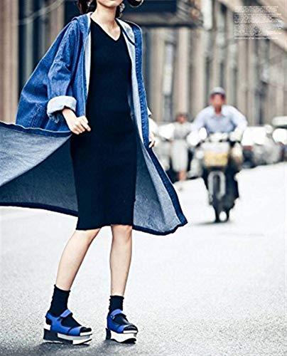 Manica Blau Jeans Autunno Lunga Giacche Moda Baggy Di Cappuccio Casual Trench Mantello Donne Elegante Donna Denim Classiche Windbreaker Monocromo Con 8xqYnT0Hw