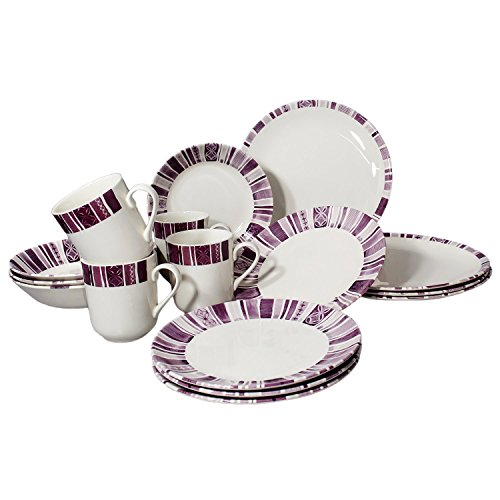 Tudor 16-Piece Porcelain Dinnerware Set, Service for 4 - BOHEME PURPLE, Royal Classic Stripes collection; INTRO OFFER- 40% (Collection 40 Piece Dinnerware)