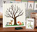 Woodland Animal Themed Baby Shower Fingerprint Guest Signing Canvas Keepsake 11.75''