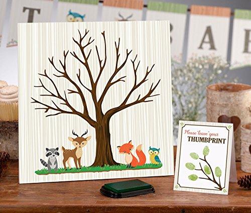 Woodland Animals Baby Shower Fingerprint Guest Signing Canvas 11.75