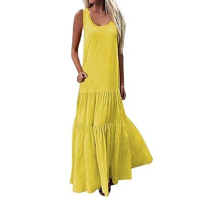 Damen BöHmisches BeiläUfiges Windkleid,Pottoa Frauen Lose Langer Rock mit Rundhals - Basic Sommerkleid - Einfarbig Freizeit Faltenrock