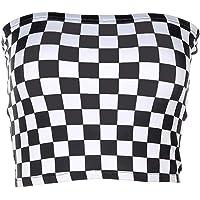 Mujeres Tablero de Damas Sexy Tube Top Strapless Wrap Top Negro Plaid Tees Camisa
