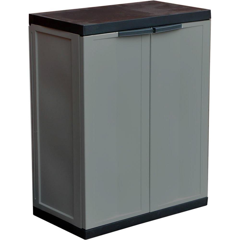 ASAB Kingfisher - Armario de almacenamiento para garaje de jardín, tamaño mediano, cobertizo de plástico para interior y exterior, puertas con cerradura segura, viene en paquete plano, 85 cm x 65 cm