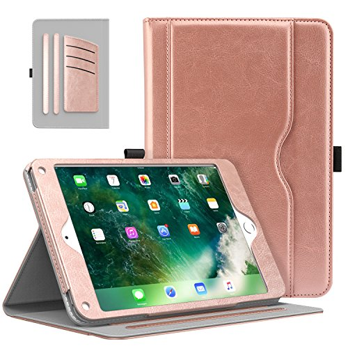 MoKo Case Fit 2018/2017 iPad 9.7 6th/5th Generation/iPad Air/iPad Air 2 Tablet - Slim Folding Stand Folio Cover Case with Document Card Slots, Multiple Viewing Angles, Rose Gold