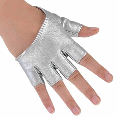Price comparison product image Haresle 1 Pair Women Half Palm Gloves Fingerless Gloves for Pole Dancing Driving (Silver)