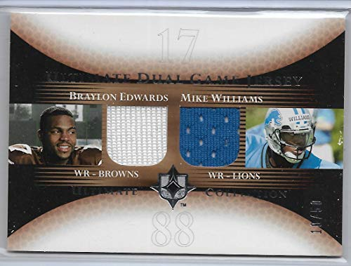 (2005 UD Ultimate Collection Football Braylon Edwards-Mike Williams Dual Game Jersey Card # 10/50)