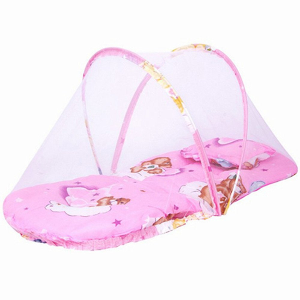 Baby Soft Bed with Sleeping Pillow & Mosquito Net Sleeping, Accessories Bed-mat for Summer Portable Toddler Mattress Pads (Pink)