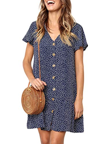 (CILKOO Ladies Polka Dot Tunic Blouses Flare Tops Shirt Casual V Neck Button Up Dress Beach Shift Dress Blue US16-18 X-Large)