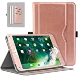 Moko Case for Apple iPad 9.7 inch 2018/2017(iPad5/iPad6)/iPad Air/iPad Air 2 Tablet - Slim Folding Stand Folio Cover Case with Document Card Slots, Multiple Viewing Angles, Rose Gold