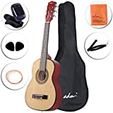 ADM 30 Inch Beginner Acoustic/Classical Guitar with Carrying Bag & Accessories, Natural Gloss