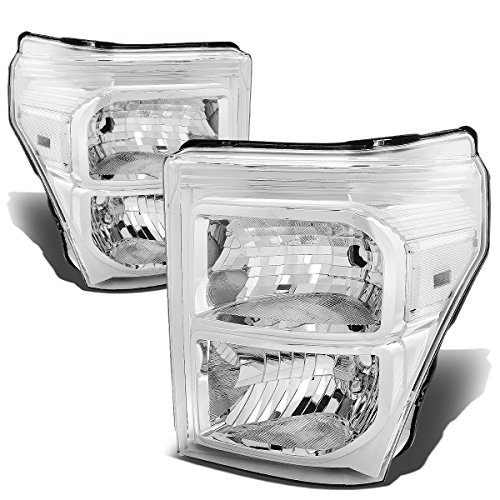 Chrome Clear Headlight Assembly (Ford Super Duty Pair of Chrome Housing Clear Corner Headlight Assembly Replacement)