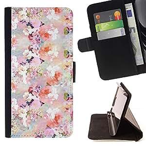 For Sony Xperia Z3 Plus / Z3+ / Sony E6553 (Not Z3) Case , Flores Flores Blanco Rosa Wallpaper- la tarjeta de Crédito Slots PU Funda de cuero Monedero caso cubierta de piel